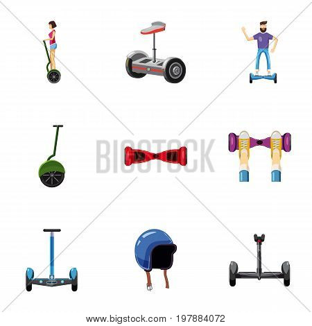 different electric scooter icons set. Cartoon set of 9 different electric scooter vector icons for web isolated on white background