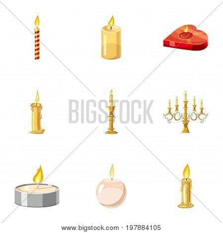 Holiday candles icons set. Cartoon set of 9 holiday candles vector icons for web isolated on white background