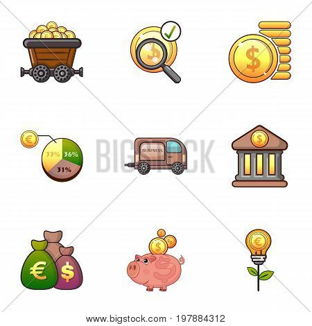 Investment icons set. Cartoon set of 9 investment vector icons for web isolated on white background