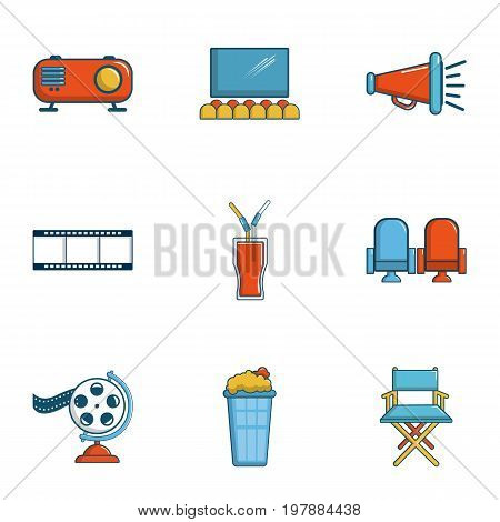 Private movie event icons set. Cartoon set of 9 private movie event vector icons for web isolated on white background