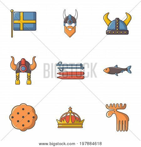 Sweden history icons set. Cartoon set of 9 sweden history vector icons for web isolated on white background