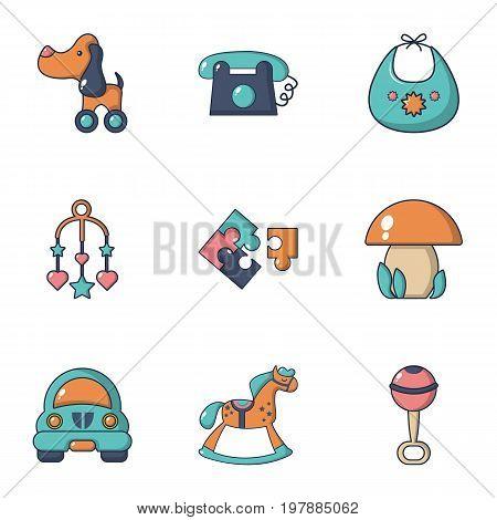 Educational toys icons set. Flat set of 9 educational toys vector icons for web isolated on white background