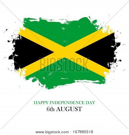 Jamaica Happy Independence Day, 6 august greeting card with brush stroke in jamaican national flag colors. Vector illustration.