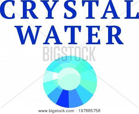 Vector abstract logo design with blue rhinestone gem sign isolated on white background. Good for swimming pool company, water industry,  crystal business company group insignia. Simple gem stone icon.