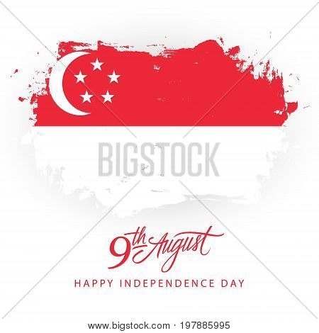 Singapore Happy Independence Day, 9 august greeting card with singaporean flag brush stroke background and hand lettering. Vector illustration.