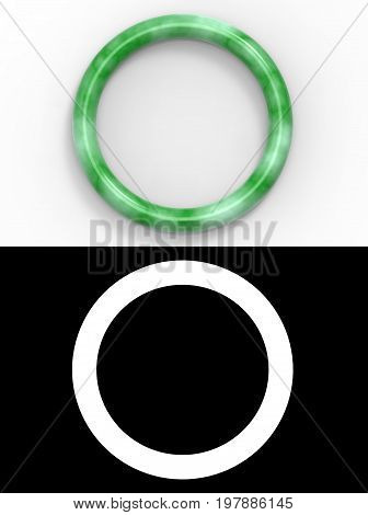 3d rendering. Top view of a beautiful luxurious jade bracelet on white background with alpha mask