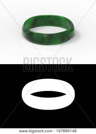 3d rendering. a beautiful luxurious dark green jade bracelet on white background with alpha mask