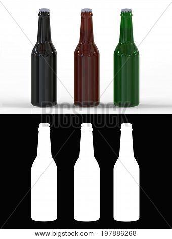 3d illustration. set of black brown and green beer bottle on white background with alpha mask