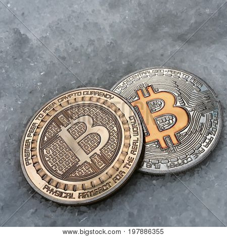 Silver And Gold Bitcoin Coins