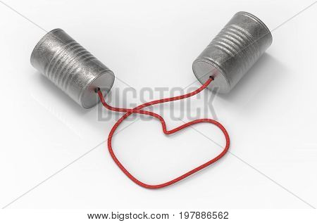 3d illustration. tin cans telephone connected by heart shape of rope. . talk and connect with love concept.