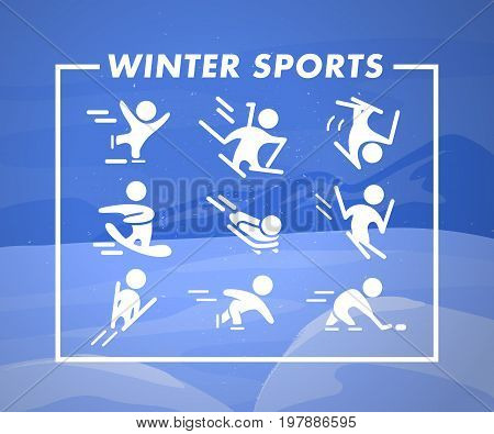 Collection of winter sport flat icons isolated on blue colored winter mountain landscape. Snowboard figure skating skeleton free style ski jumping hockey and biathlon athletes silhouettes set.