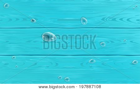 Wooden texture vector. Realistic wood pattern with water drops. Wood texture for Holiday decoration. Realistic Wood Blue color poster. Wood seasonal background. For Trendy design.