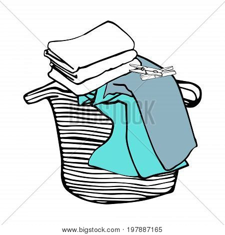 Laundry basket, colored bed linen and clothespins. Hand drawn vector illustration.