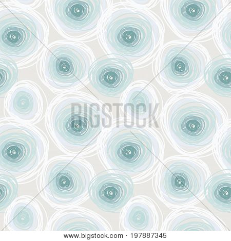 Seamless pattern with light cold circles, abstract tiled ornament, winter cold palette,  vector illustration