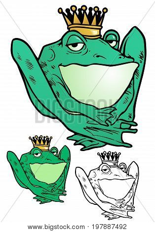 Frog Prince. This might be a princess, or even transgendered. Only Fairies and Frogs can tell. Comes with flat and black outline versions.