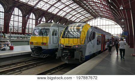 ANTWERP, BELGIUM. July 22, 2017. Belgian rail international fast trains at the platform of the Antwerp central railway station.