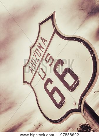 A Historic route 66 sign in Arizona.