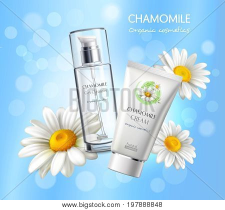 Natural cosmetics skincare products realistic advertisement poster with chamomile extract cream and cleanser vibrant blue background vector illustration