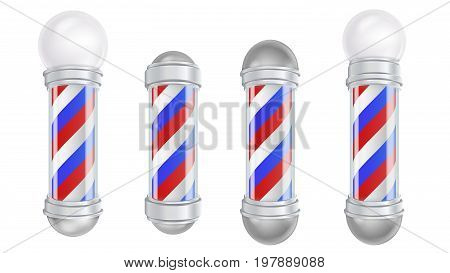 Barber Shop Pole Vector. Old Fashioned Vintage Silver And Glass Barber Shop Pole. Red, Blue, White Stripes. Isolated
