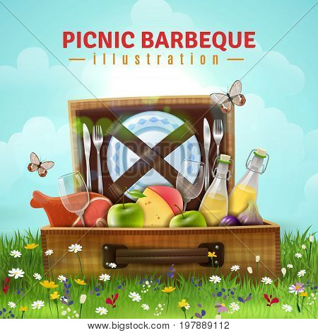 Picnic barbecue design with food, drink and tableware in open suitcase laying at flower meadow vector illustration