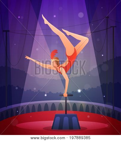 Magic show flat composition with slender girl in gym suit performing acrobatic exercise vector illustration