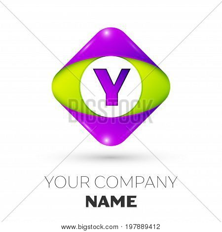 Realistic Letter Y vector logo symbol in the colorful rhombus on white background. Vector template for your design