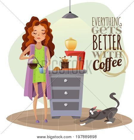 Morning awakening cartoon vector illustration with young girl pouring coffee into cup coffee machine and cat