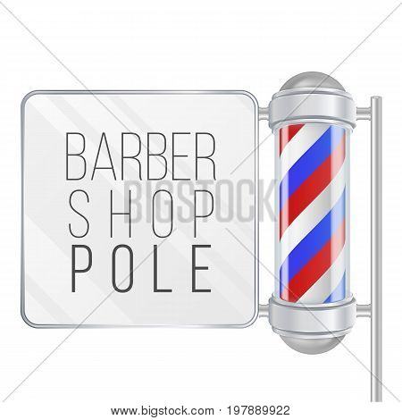 Barber Shop Pole Vector. Space For Your Advertising. Old Fashioned Vintage Silver And Glass Barber Shop Pole.