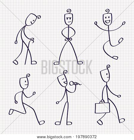 Stick figure of man with different poses of jumping, walking, running, standing, singing, sitting, akimbo and meditation. Hand drawn vector illustration