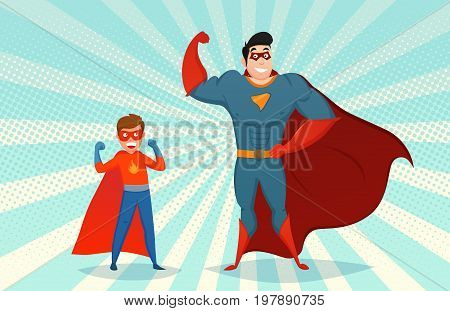 Man and boy superheroes in mask and colorful costume on pop art background retro style vector illustration
