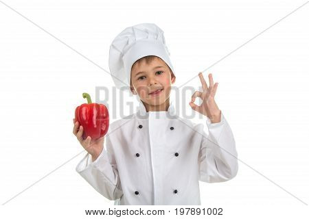 Handsome teen boy wearing chef uniform making ok gesture and holding red pepper. Portrait of a happy cute male child cook, isolated on white background. Food and cooking concept