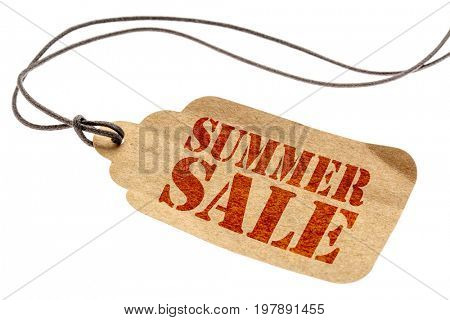 summer sale sign - a paper price tag with a twine isolated on white