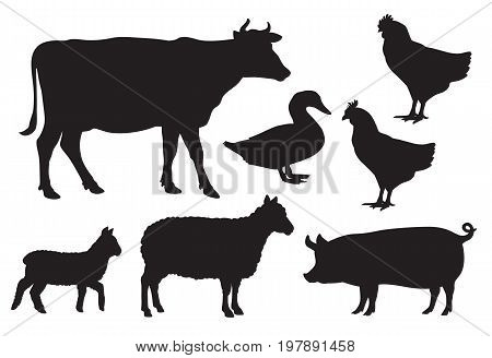 Vector farm animal silhouettes including cow sheep lamb pig duck and chickens.