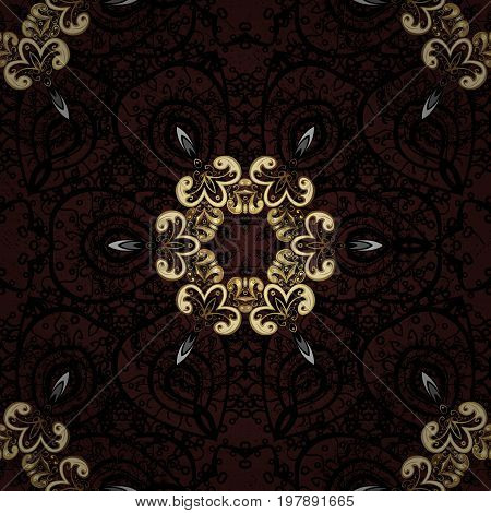 Golden element on brown background. Damask seamless repeating pattern. Antique golden repeatable sketch. Gold floral ornament in baroque style.