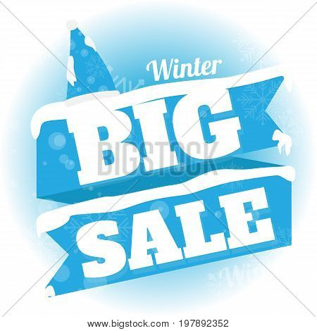 Winter sale. white and blue background and with a discount big sale vector illustration