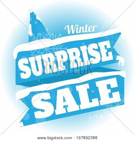 Winter sale. white and blue background and with a discount surprise sale vector illustration