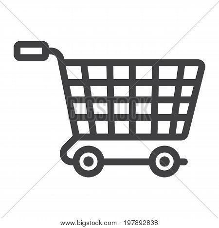 Ecommerce solutions line icon, seo and development, basket sign vector graphics, a linear pattern on a white background, eps 10.