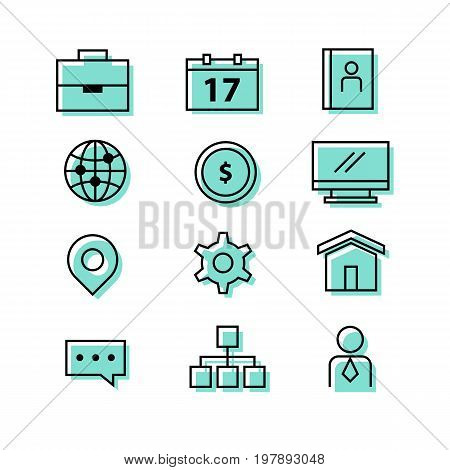 Buiness corporate office icon set with computer monitor coin pin calendar