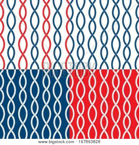 Set of Seamless nautical patterns on blue red white backgrounds with rope loops. Marine design for summer season vacation travel. Fabric print. Repeating wallpaper.