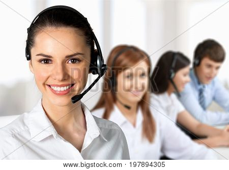 Beautiful business portrait man businesswoman with headset brown hair