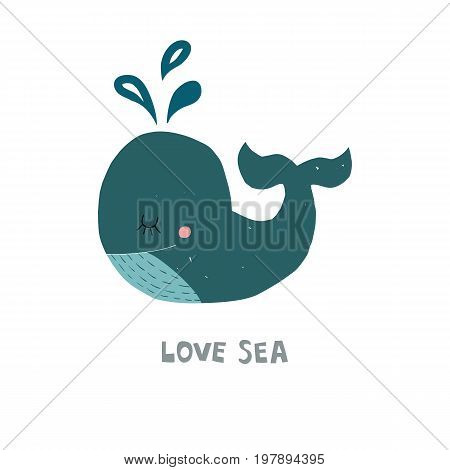 Cute whale with next Love sea fod kid illustration