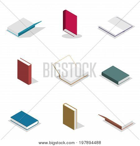Set of icons collection of various book isolated on white background. Elements design of printed materials. Flat 3d isometric style vector illustration.