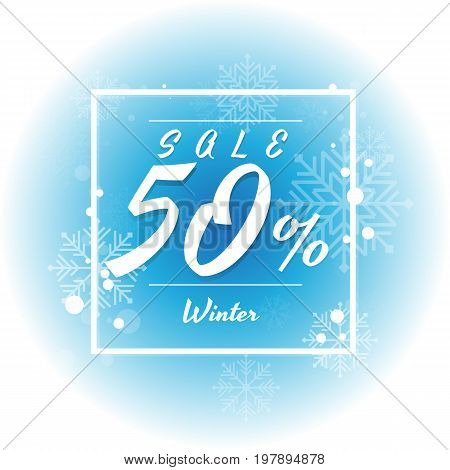 Winter sale on white and blue background with snowflake. Vector illustration. discount. big sale. super sale. anniversary. holiday. 1020305070 percent
