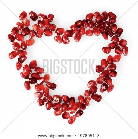 Shape seeds heart pomegranate healthy food organic food red
