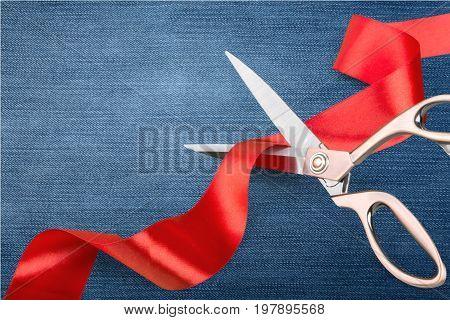 Red ribbon cutting cut scissors scissors cutting red ribbon gift