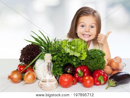 Colored girl vegetables elementary age thumbs up human emotions cute girl