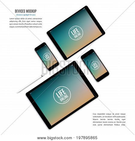 mockup devices: smartphones and tablets with color screen isolated on white background. stock vector illustration eps10