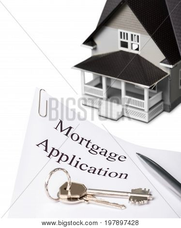 Model house document mortgage application table background