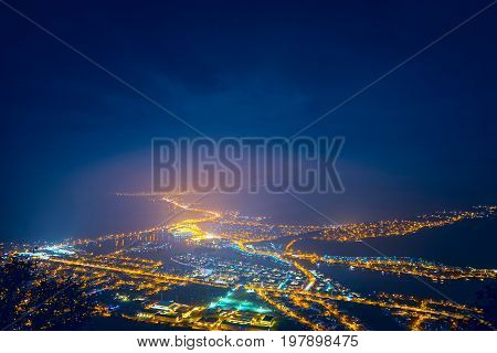 Illuminated city night illuminate lights blue view