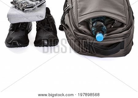 Set of male things for training in fitness club on white background